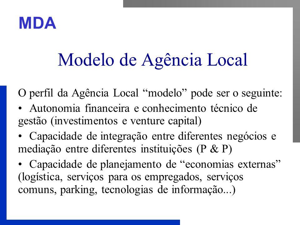 """MDA Modelo de Agência Local O perfil da Agência Local """"modelo"""" pode ser o seguinte: Autonomia financeira e conhecimento técnico de gestão (investiment"""