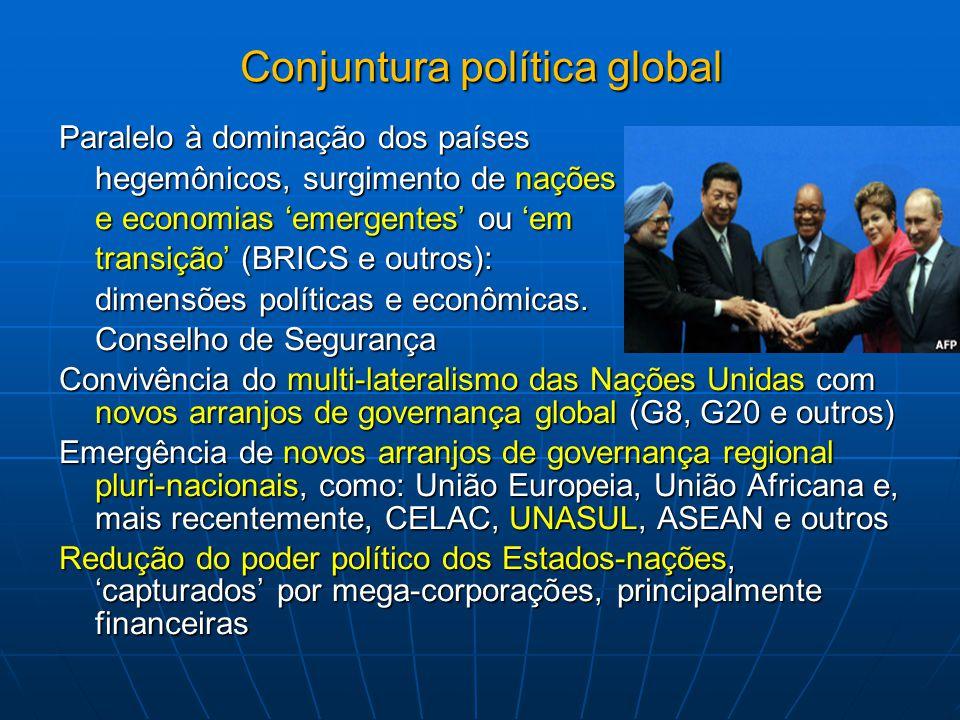Prioridades do Brasil na cooperação internacional Robusta política externa, seja nas relações com o sistema das Nações Unidas, seja com países desenvolvidos e em desenvolvimento Países, grupos e regiões prioritárias G 20 CPLP – Comunidade de Países de Língua Oficial Portuguesa, incluindo PALOP (Países Africanos de Língua Oficial Portuguesa) UNASUL – União de Nações Sul-americanas BRICS Participação ativa COERENTE em instituições multilaterais, como OMC, OMPI, OMS e OPAS Exemplos: Convenção Marco sobre Controle do Tabaco; Declaração de Doha sobre Acordo TRIPS e Saúde Pública; e o Grupo de Trabalho Inter-governamental (IGWG) sobre Saúde Publica e Propriedade Intelectual; Reforma da OMS Saúde como prioridade da política externa do Brasil