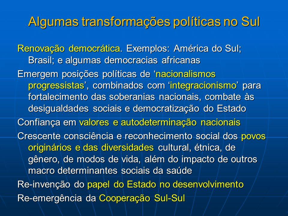 Saúde na política externa brasileira Busca de liderança do Brasil em diversos fóruns internacionais Recentes eleições do Brasil para DG da FAO e da OMC Recentemente reeleito para o EB da OMS (2013-2016) Realizações da Rio+20 (2012), da CMDSS (2011) e do Fórum Global da OMS sobre Recursos Humanos em Saúde (2013) Papel decisivo na UNASUL e na CPLP e de outros países da África: Programa Estratégico de Cooperação em Saúde (PECS/CPLP) e da Agenda de Saúde Sul- Americana da UNASUL Saúde Constantes pedidos de apoio na área da saúde Presença da FIOCRUZ em todas estas iniciativas