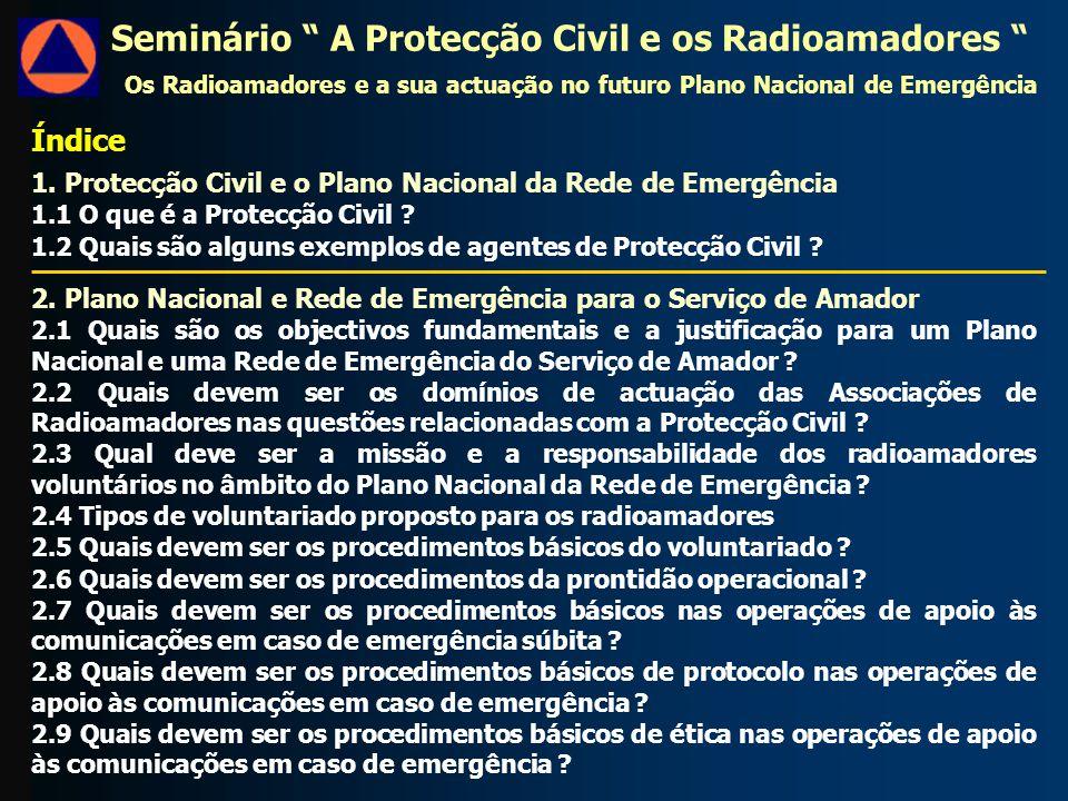 Índice 1. Protecção Civil e o Plano Nacional da Rede de Emergência 1.1 O que é a Protecção Civil .
