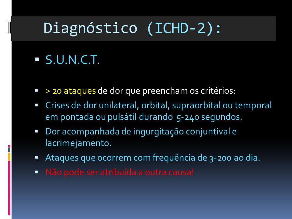 Diagnóstico (ICHD-2):  S.U.N.C.T.  > 20 ataques de dor que preencham os critérios:  Crises de dor unilateral, orbital, supraorbital ou temporal em