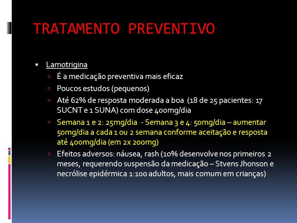 TRATAMENTO PREVENTIVO  Lamotrigina  É a medicação preventiva mais eficaz  Poucos estudos (pequenos)  Até 62% de resposta moderada a boa (18 de 25