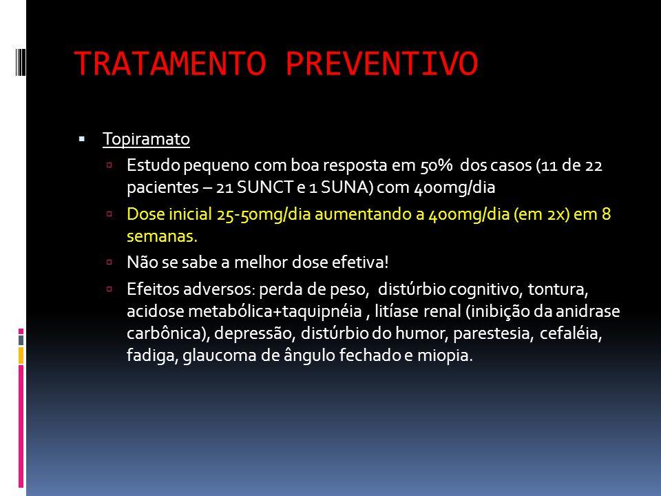 TRATAMENTO PREVENTIVO  Topiramato  Estudo pequeno com boa resposta em 50% dos casos (11 de 22 pacientes – 21 SUNCT e 1 SUNA) com 400mg/dia  Dose in