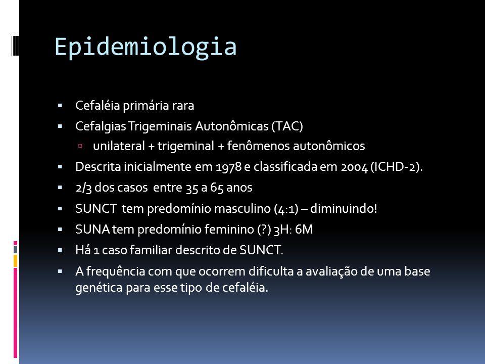 Epidemiologia  Cefaléia primária rara  Cefalgias Trigeminais Autonômicas (TAC)  unilateral + trigeminal + fenômenos autonômicos  Descrita inicialm