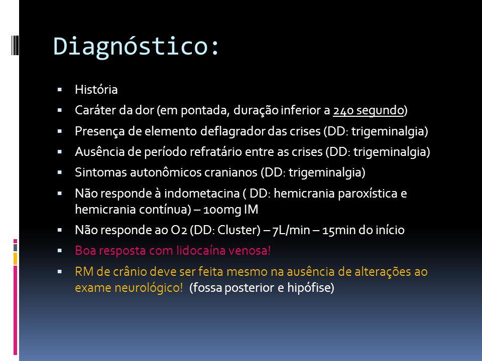 Diagnóstico:  História  Caráter da dor (em pontada, duração inferior a 240 segundo)  Presença de elemento deflagrador das crises (DD: trigeminalgia