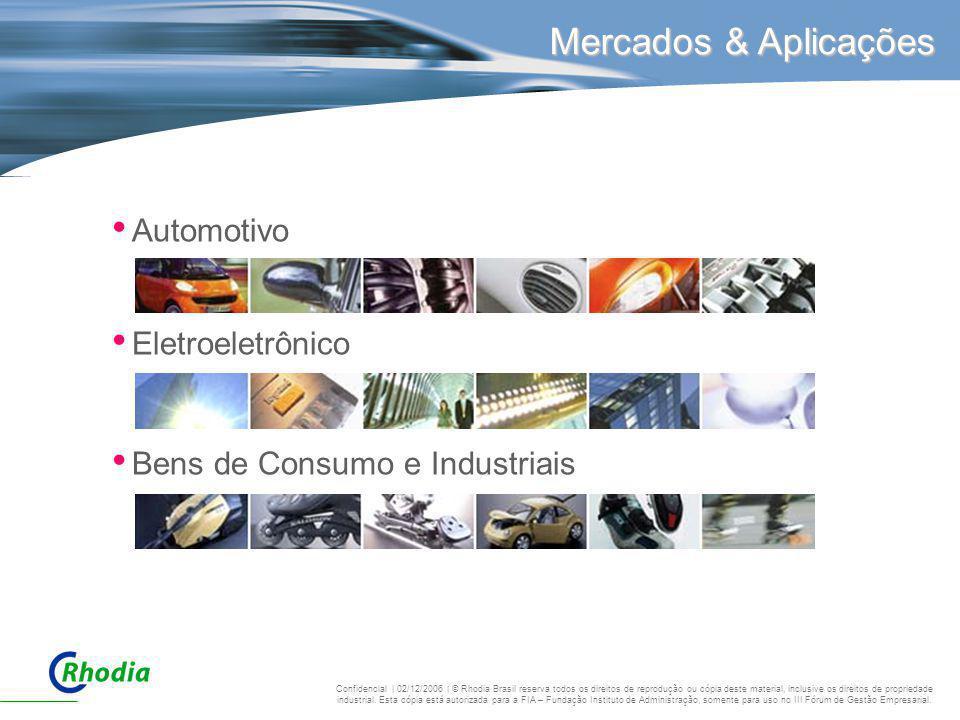 Mercados & Aplicações Automotivo Eletroeletrônico Bens de Consumo e Industriais Confidencial | 02/12/2006 | © Rhodia Brasil reserva todos os direitos
