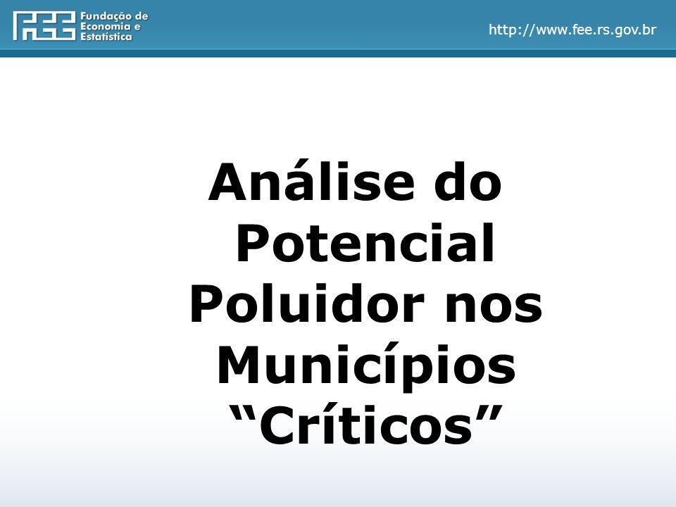 http://www.fee.rs.gov.br Municípios Críticos no RS – 2002-2009 Salienta-se o fato de permanecerem quase sempre os mesmos dez municípios na listagem, havendo alterações no ranking no período.