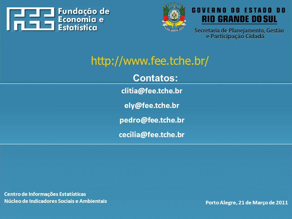 Centro de Informações Estatísticas Núcleo de Indicadores Sociais e Ambientais Porto Alegre, 21 de Março de 2011 http://www.fee.tche.br/ clitia@fee.tche.br ely@fee.tche.br pedro@fee.tche.br cecilia@fee.tche.br Contatos: