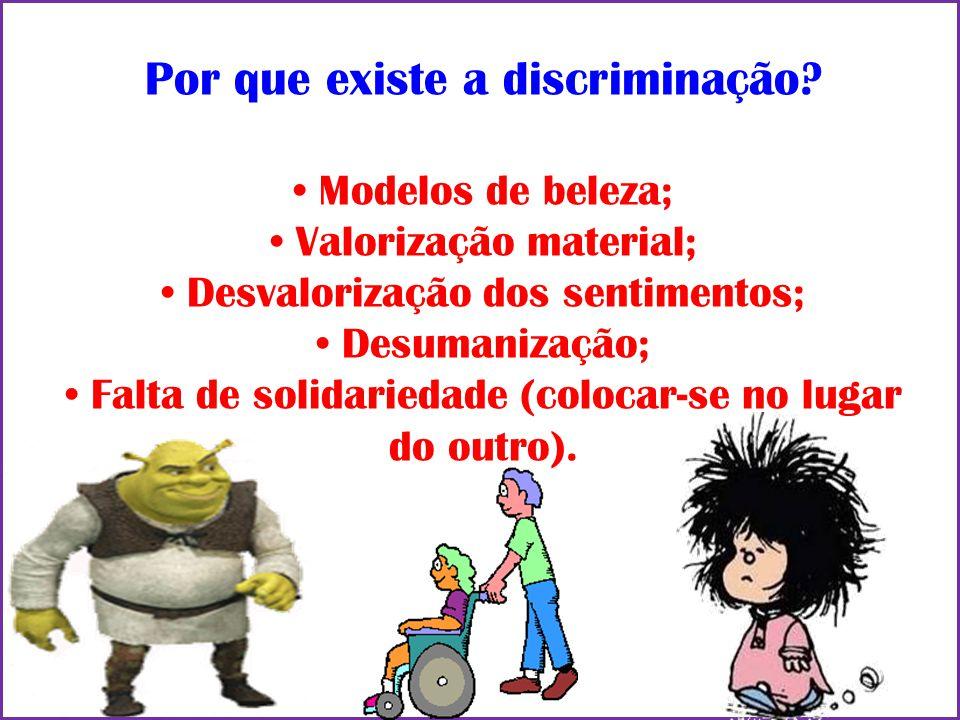 Por que existe a discriminação? Modelos de beleza; Valorização material; Desvalorização dos sentimentos; Desumanização; Falta de solidariedade (coloca