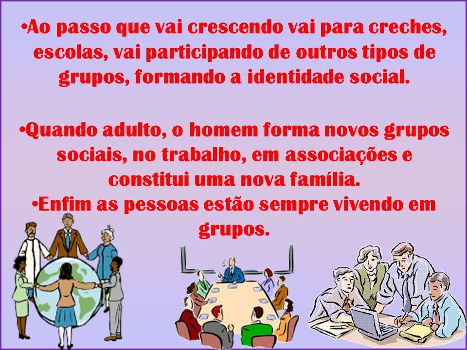 Ao passo que vai crescendo vai para creches, escolas, vai participando de outros tipos de grupos, formando a identidade social. Quando adulto, o homem