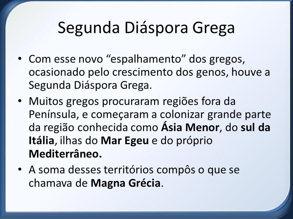 Segunda Diáspora Grega Com esse novo espalhamento dos gregos, ocasionado pelo crescimento dos genos, houve a Segunda Diáspora Grega.