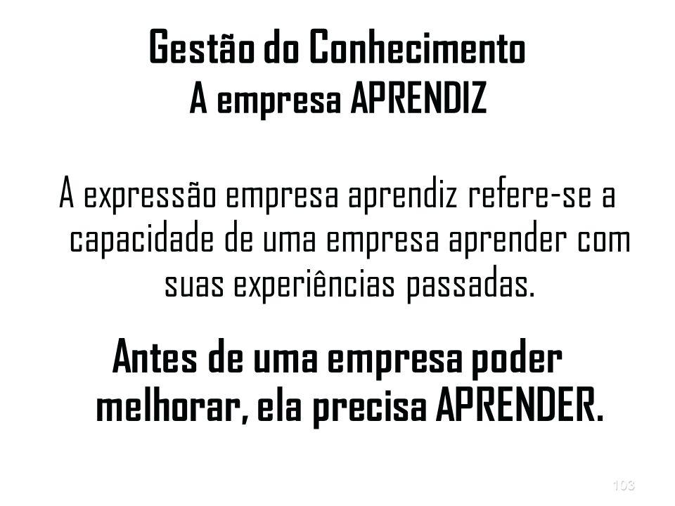 103 Gestão do Conhecimento A empresa APRENDIZ A expressão empresa aprendiz refere-se a capacidade de uma empresa aprender com suas experiências passadas.