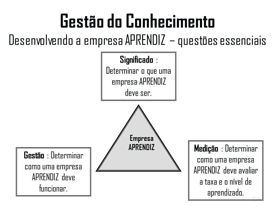 104 Gestão do Conhecimento Desenvolvendo a empresa APRENDIZ – questões essenciais Gestão : Determinar como uma empresa APRENDIZ deve funcionar.