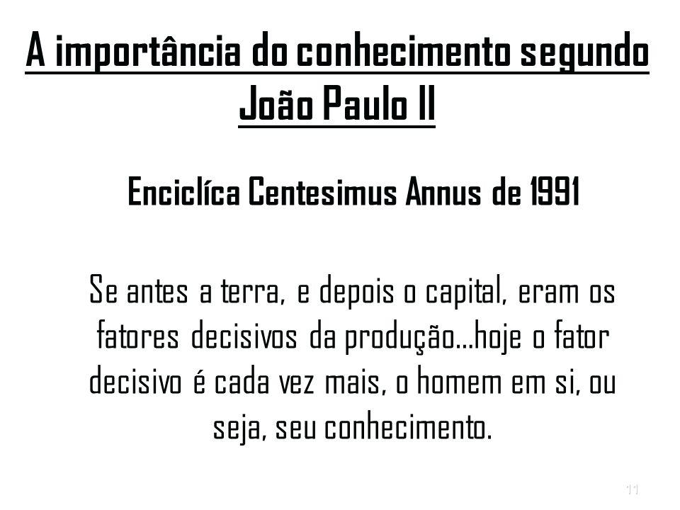 11 A importância do conhecimento segundo João Paulo II Enciclíca Centesimus Annus de 1991 Se antes a terra, e depois o capital, eram os fatores decisivos da produção…hoje o fator decisivo é cada vez mais, o homem em si, ou seja, seu conhecimento.