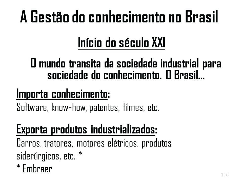 114 A Gestão do conhecimento no Brasil Início do século XXI O mundo transita da sociedade industrial para sociedade do conhecimento.