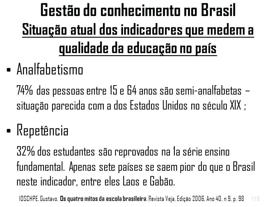 116 Gestão do conhecimento no Brasil Situação atual dos indicadores que medem a qualidade da educação no país Analfabetismo 74% das pessoas entre 15 e 64 anos são semi-analfabetas – situação parecida com a dos Estados Unidos no século XIX ; Repetência 32% dos estudantes são reprovados na 1a série ensino fundamental.