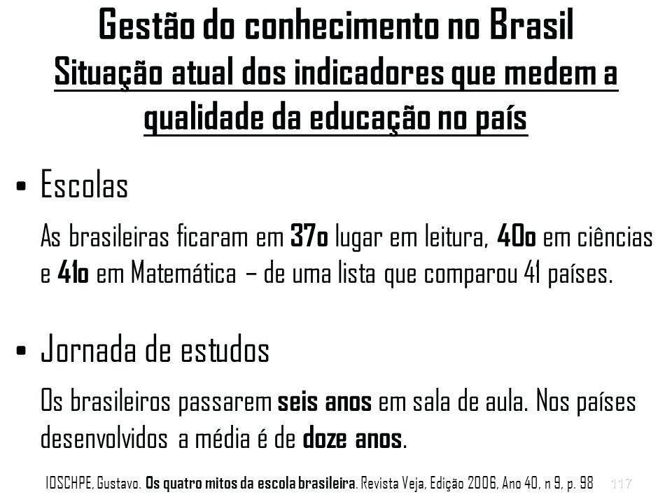 117 Gestão do conhecimento no Brasil Situação atual dos indicadores que medem a qualidade da educação no país Escolas As brasileiras ficaram em 37o lugar em leitura, 40o em ciências e 41o em Matemática – de uma lista que comparou 41 países.