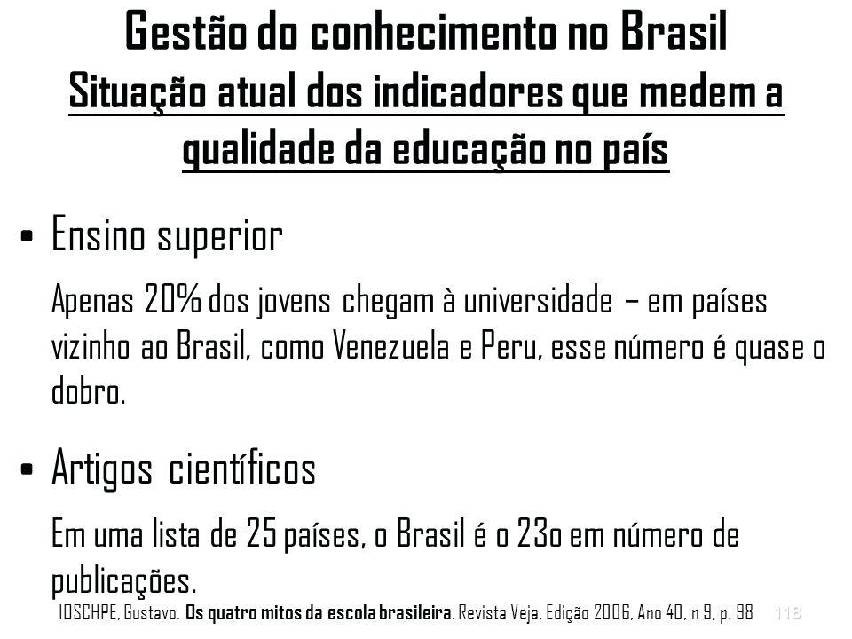 118 Gestão do conhecimento no Brasil Situação atual dos indicadores que medem a qualidade da educação no país Ensino superior Apenas 20% dos jovens chegam à universidade – em países vizinho ao Brasil, como Venezuela e Peru, esse número é quase o dobro.