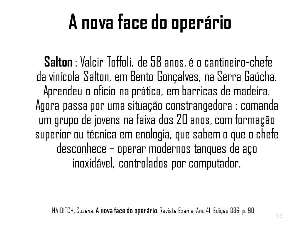 16 A nova face do operário Salton : Valcir Toffoli, de 58 anos, é o cantineiro-chefe da vinícola Salton, em Bento Gonçalves, na Serra Gaúcha.