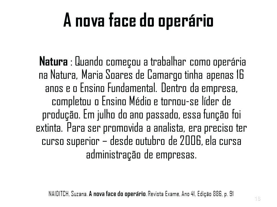18 A nova face do operário Natura : Quando começou a trabalhar como operária na Natura, Maria Soares de Camargo tinha apenas 16 anos e o Ensino Fundamental.