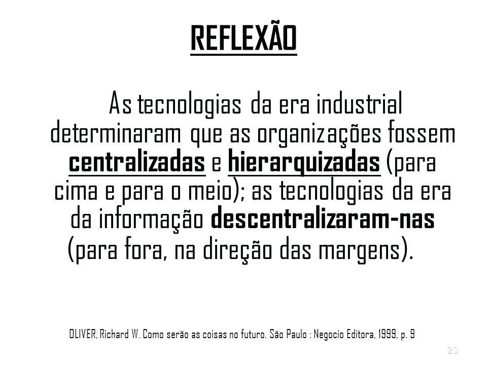 20 REFLEXÃO As tecnologias da era industrial determinaram que as organizações fossem centralizadas e hierarquizadas (para cima e para o meio); as tecnologias da era da informação descentralizaram-nas (para fora, na direção das margens).