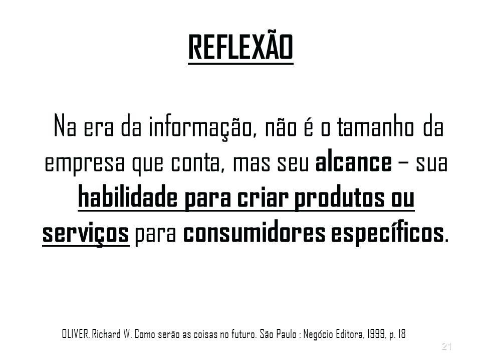 21 REFLEXÃO Na era da informação, não é o tamanho da empresa que conta, mas seu alcance – sua habilidade para criar produtos ou serviços para consumidores específicos.
