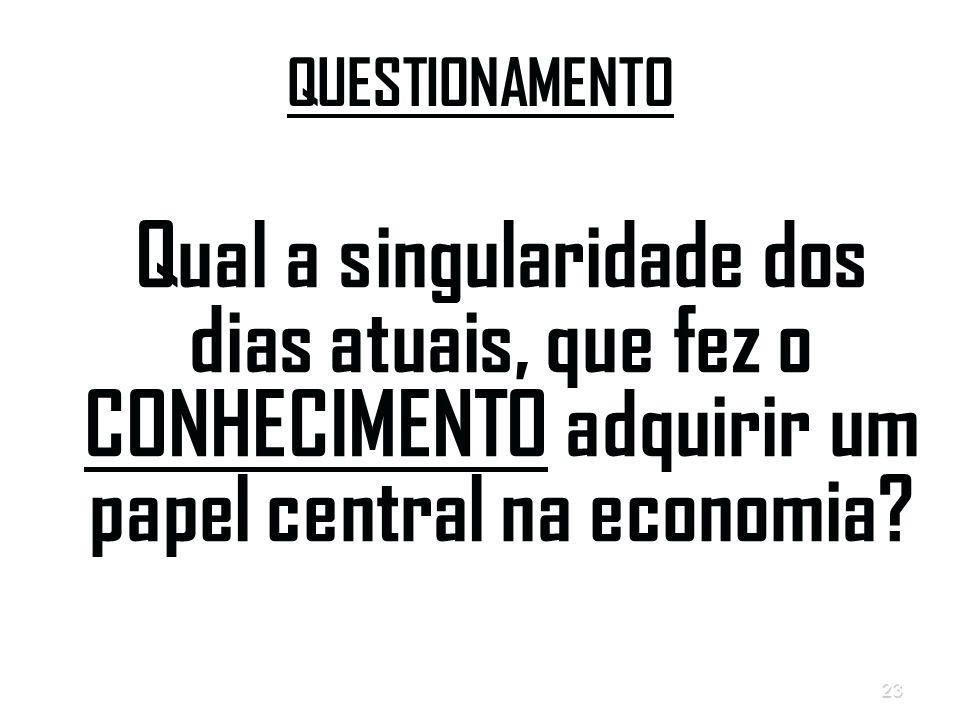 23 QUESTIONAMENTO Qual a singularidade dos dias atuais, que fez o CONHECIMENTO adquirir um papel central na economia?