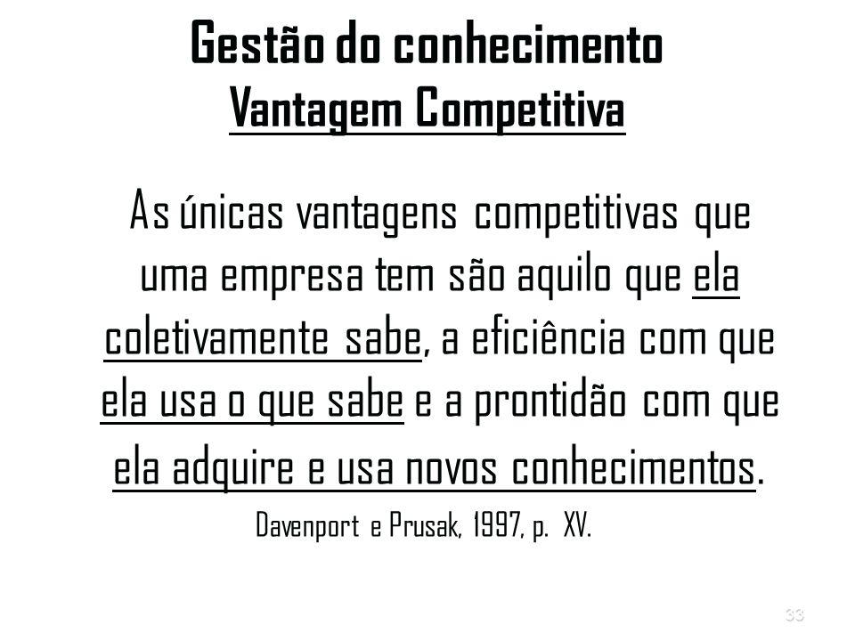 33 Gestão do conhecimento Vantagem Competitiva As únicas vantagens competitivas que uma empresa tem são aquilo que ela coletivamente sabe, a eficiência com que ela usa o que sabe e a prontidão com que ela adquire e usa novos conhecimentos.