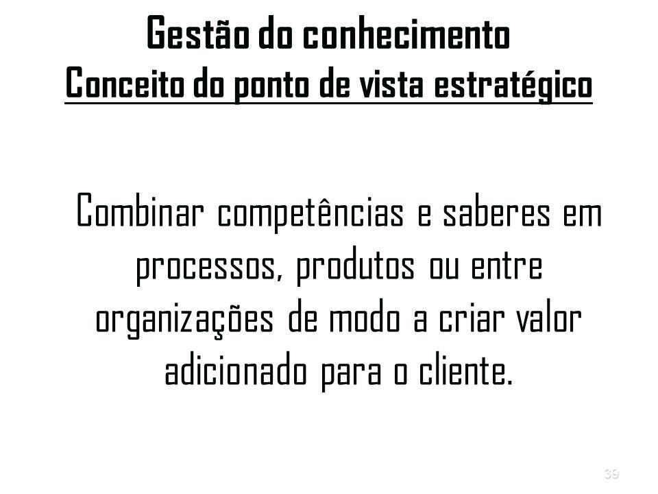 39 Gestão do conhecimento Conceito do ponto de vista estratégico Combinar competências e saberes em processos, produtos ou entre organizações de modo a criar valor adicionado para o cliente.