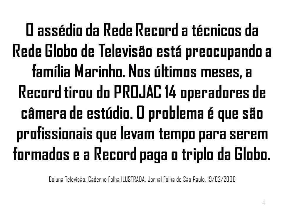 4 O assédio da Rede Record a técnicos da Rede Globo de Televisão está preocupando a família Marinho.