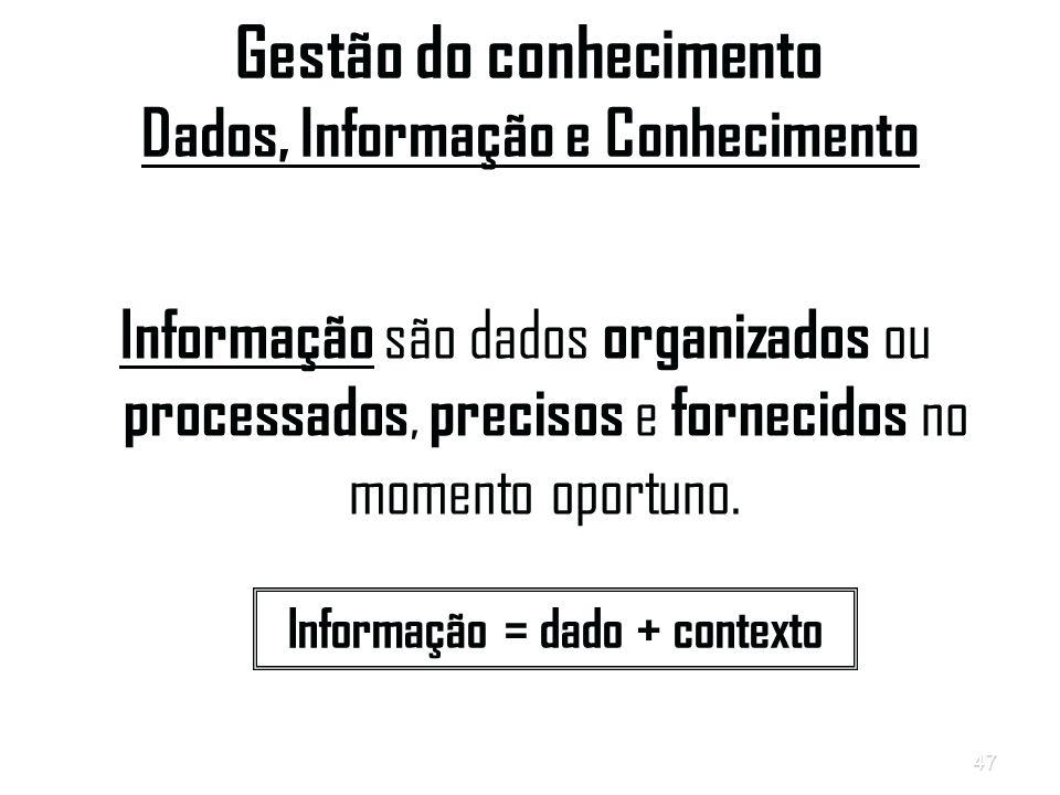 47 Gestão do conhecimento Dados, Informação e Conhecimento Informação são dados organizados ou processados, precisos e fornecidos no momento oportuno.