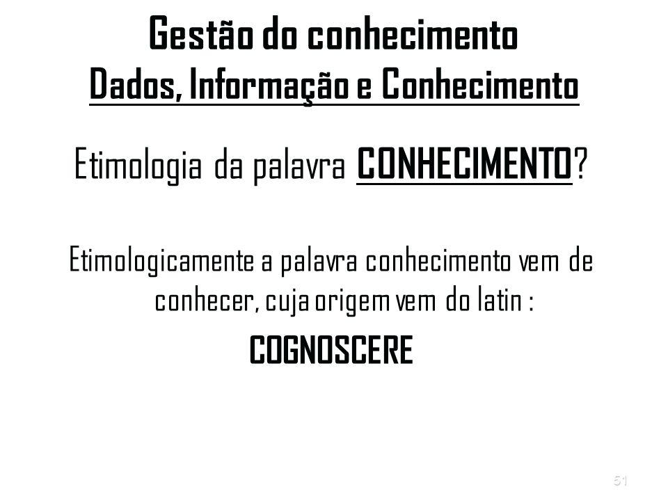 51 Gestão do conhecimento Dados, Informação e Conhecimento Etimologia da palavra CONHECIMENTO .
