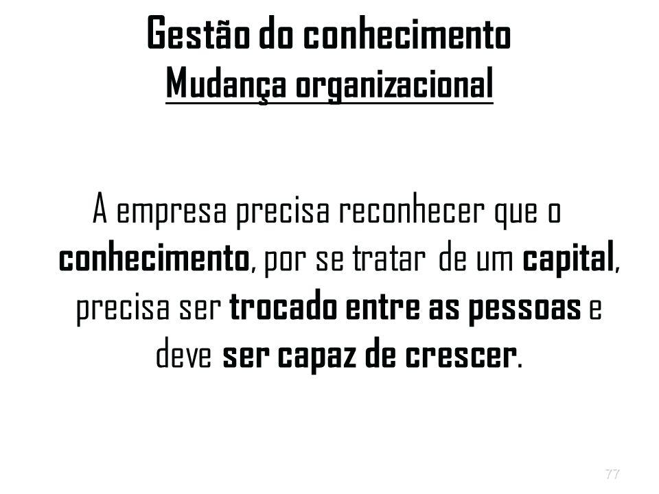 77 Gestão do conhecimento Mudança organizacional A empresa precisa reconhecer que o conhecimento, por se tratar de um capital, precisa ser trocado entre as pessoas e deve ser capaz de crescer.