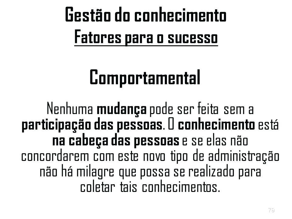 79 Gestão do conhecimento Fatores para o sucesso Comportamental Nenhuma mudança pode ser feita sem a participação das pessoas.