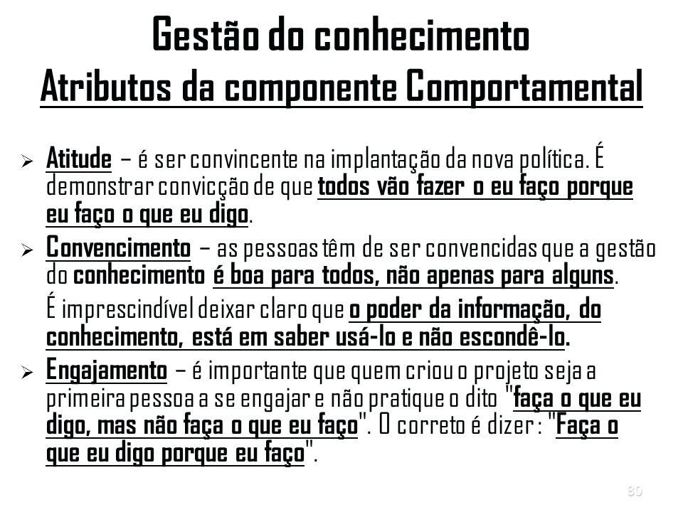 80 Gestão do conhecimento Atributos da componente Comportamental   Atitude – é ser convincente na implantação da nova política.