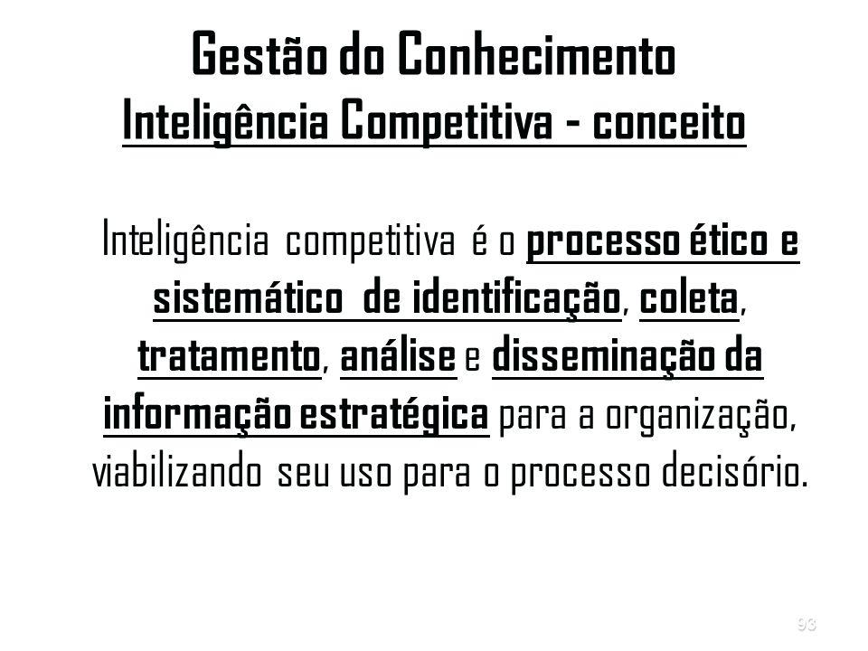 93 Gestão do Conhecimento Inteligência Competitiva - conceito Inteligência competitiva é o processo ético e sistemático de identificação, coleta, tratamento, análise e disseminação da informação estratégica para a organização, viabilizando seu uso para o processo decisório.