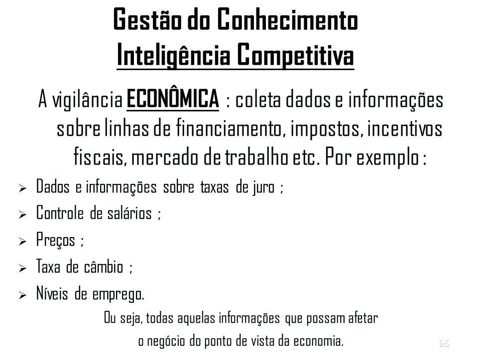 95 Gestão do Conhecimento Inteligência Competitiva A vigilância ECONÔMICA : coleta dados e informações sobre linhas de financiamento, impostos, incentivos fiscais, mercado de trabalho etc.