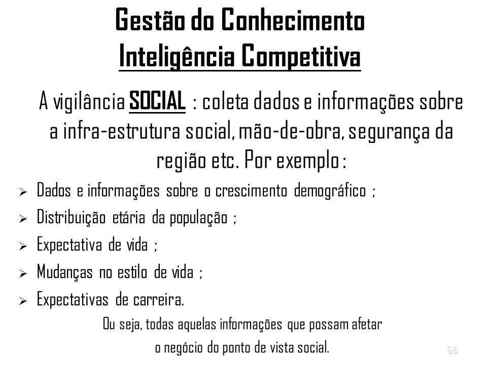 96 Gestão do Conhecimento Inteligência Competitiva A vigilância SOCIAL : coleta dados e informações sobre a infra-estrutura social, mão-de-obra, segurança da região etc.
