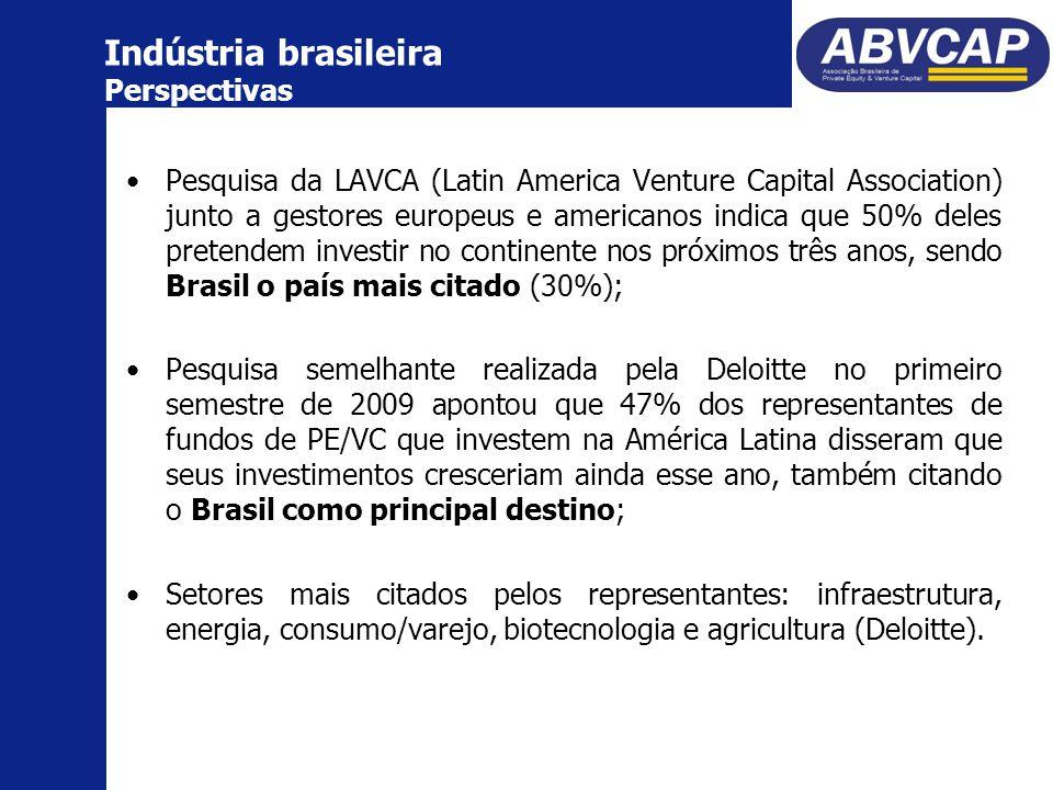 Pesquisa da LAVCA (Latin America Venture Capital Association) junto a gestores europeus e americanos indica que 50% deles pretendem investir no continente nos próximos três anos, sendo Brasil o país mais citado (30%); Pesquisa semelhante realizada pela Deloitte no primeiro semestre de 2009 apontou que 47% dos representantes de fundos de PE/VC que investem na América Latina disseram que seus investimentos cresceriam ainda esse ano, também citando o Brasil como principal destino; Setores mais citados pelos representantes: infraestrutura, energia, consumo/varejo, biotecnologia e agricultura (Deloitte).