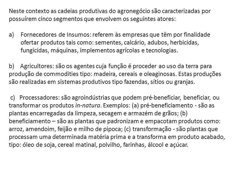 Neste contexto as cadeias produtivas do agronegócio são caracterizadas por possuírem cinco segmentos que envolvem os seguintes atores: a)Fornecedores