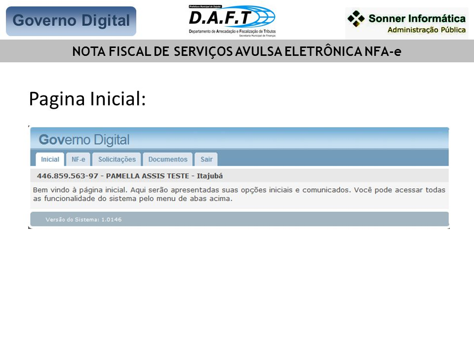 Pagina Inicial: Governo Digital NOTA FISCAL DE SERVIÇOS AVULSA ELETRÔNICA NFA-e