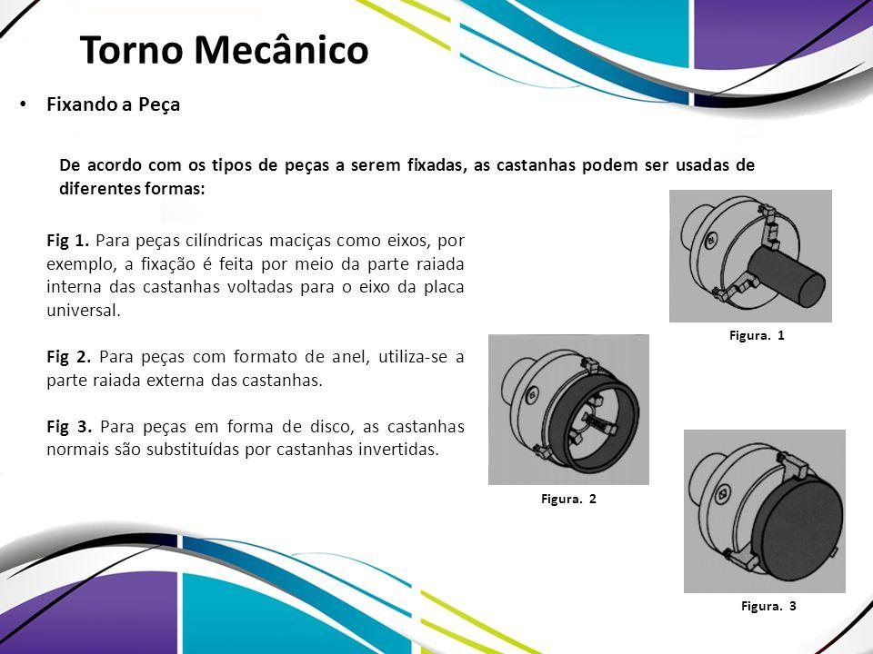 De acordo com os tipos de peças a serem fixadas, as castanhas podem ser usadas de diferentes formas: Fig 1. Para peças cilíndricas maciças como eixos,