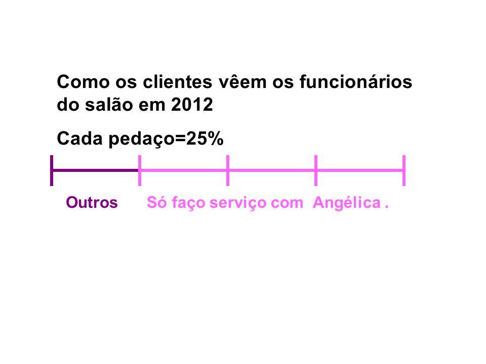Como os clientes vêem os funcionários do salão em 2012 Cada pedaço=25% OutrosSó faço serviço com Angélica.