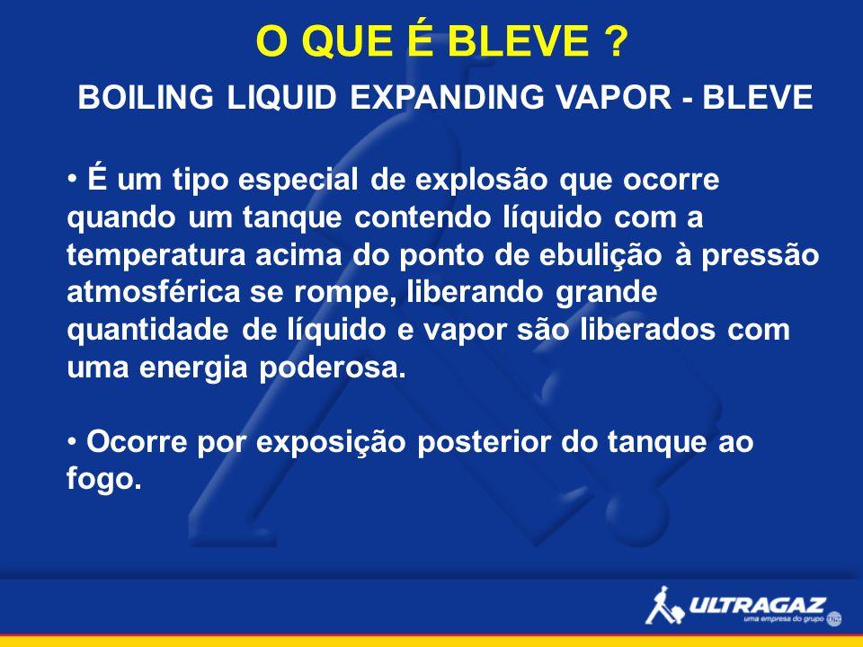 O QUE É BLEVE ? BOILING LIQUID EXPANDING VAPOR - BLEVE É um tipo especial de explosão que ocorre quando um tanque contendo líquido com a temperatura a