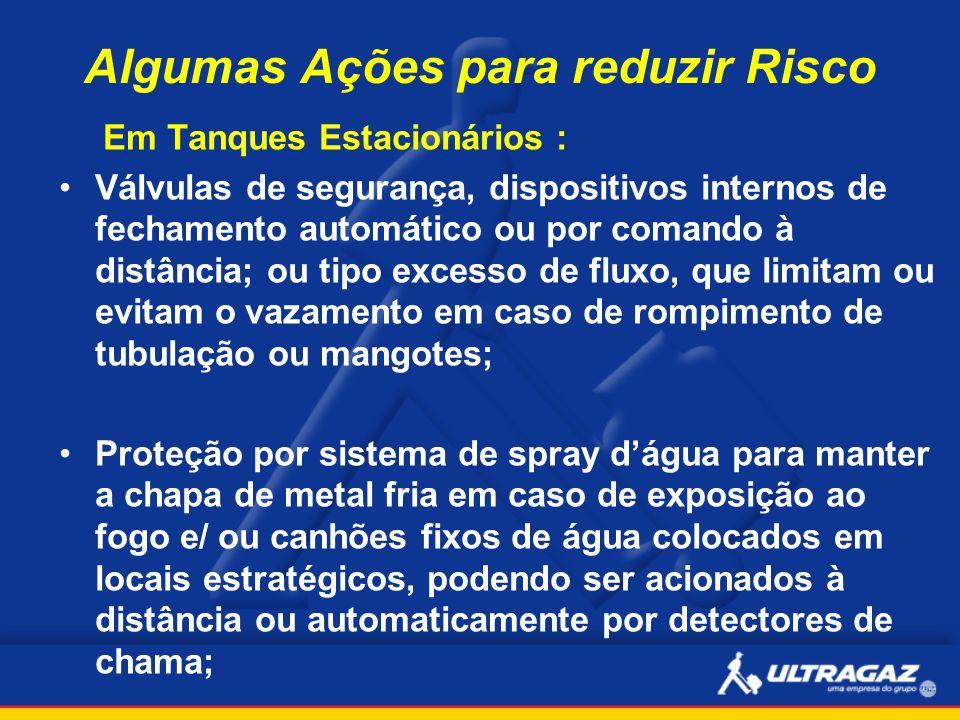 Algumas Ações para reduzir Risco Em Tanques Estacionários : Válvulas de segurança, dispositivos internos de fechamento automático ou por comando à dis