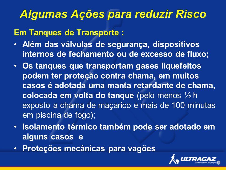 Algumas Ações para reduzir Risco Em Tanques de Transporte : Além das válvulas de segurança, dispositivos internos de fechamento ou de excesso de fluxo