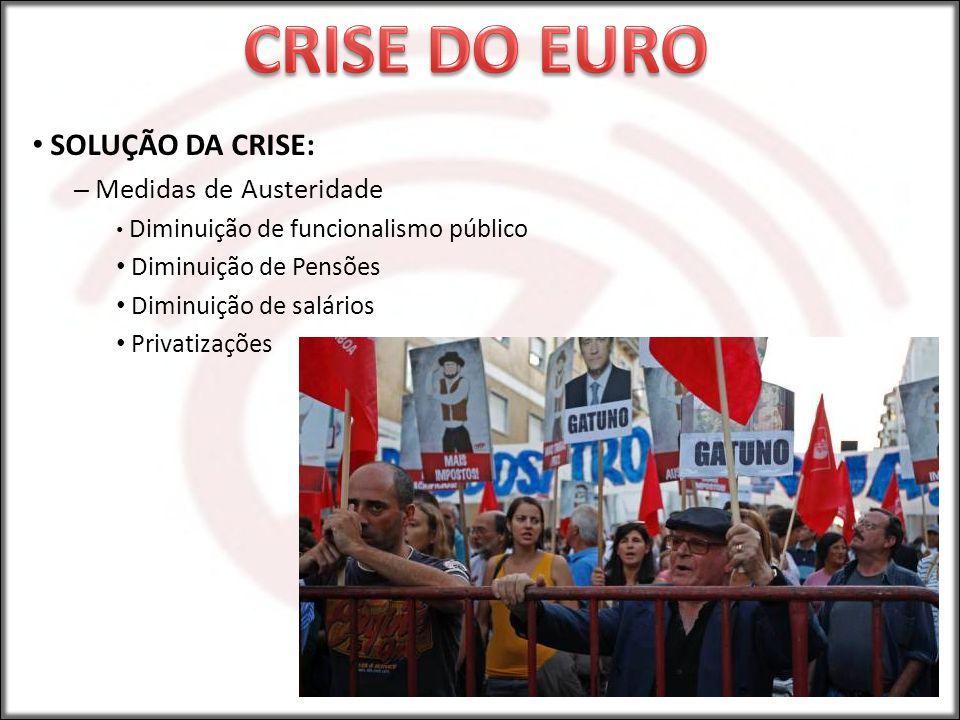 SOLUÇÃO DA CRISE: – Medidas de Austeridade Diminuição de funcionalismo público Diminuição de Pensões Diminuição de salários Privatizações