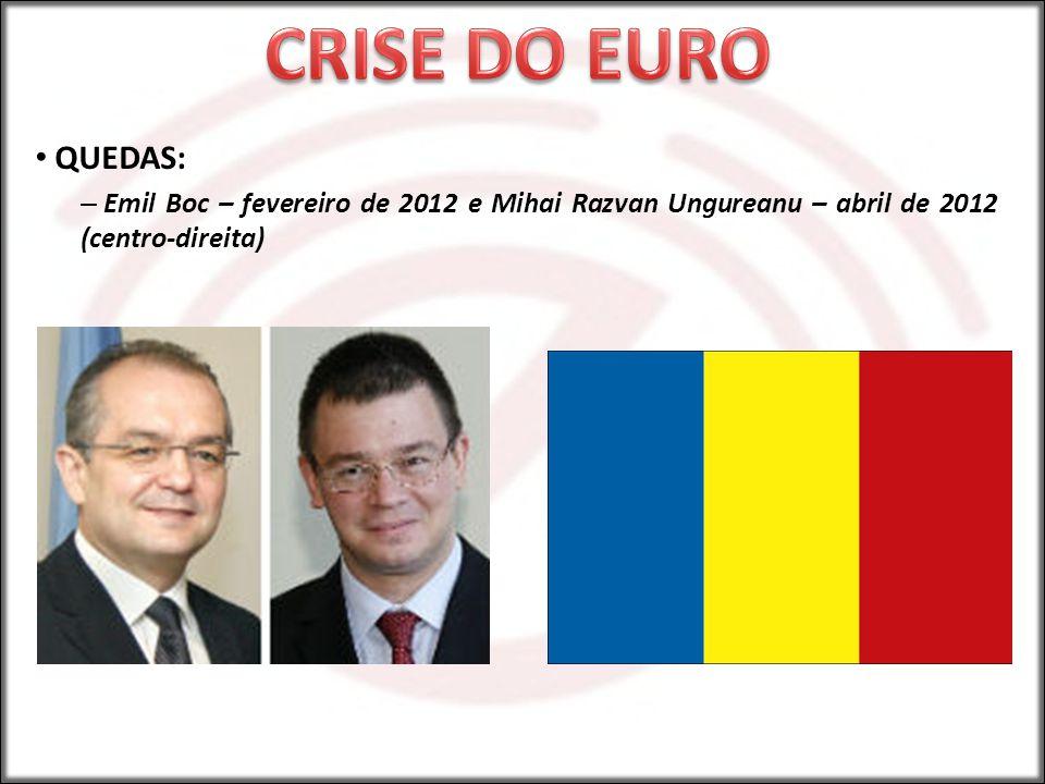 QUEDAS: – Emil Boc – fevereiro de 2012 e Mihai Razvan Ungureanu – abril de 2012 (centro-direita)