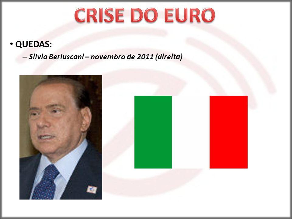 QUEDAS: – Silvio Berlusconi – novembro de 2011 (direita)
