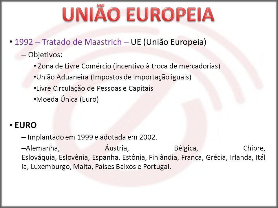 1992 – Tratado de Maastrich – UE (União Europeia) – Objetivos: Zona de Livre Comércio (incentivo à troca de mercadorias) União Aduaneira (Impostos de